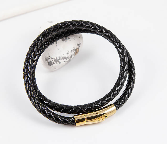 BM513-1G Двойной плетеный браслет из кожаного шнура