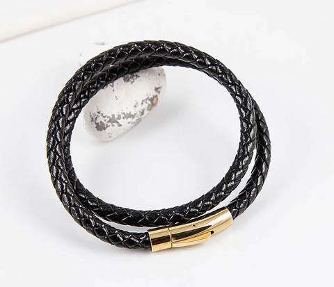 Двойной плетеный браслет из кожаного шнура