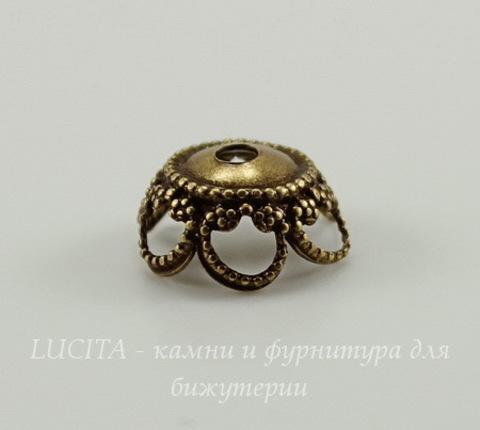 Винтажный декоративный элемент - шапочка 9х4 мм (оксид латуни)