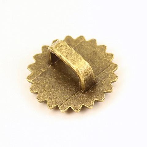 Бусина металлическая (для шнура 10х6,5 мм) 23х22х10 мм с сеттингом для кабошона 16 мм (цвет - античная бронза)