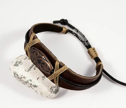 BL441-2 Оригинальный мужской браслет ручной работы из кожи и металла