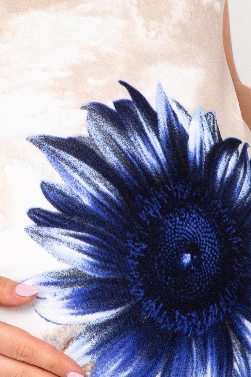 Туника 07226 бежевый-синий