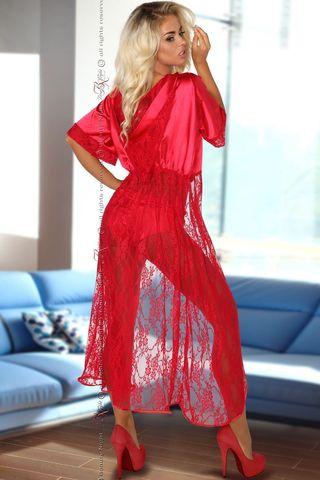 Красный кружевной пеньюар с капюшоном Electra, в комплект идут трусики фото