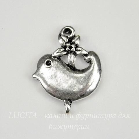 "Коннектор ""Птичка с цветком"" (1-1) 22х17 мм (цвет - античное серебро)"