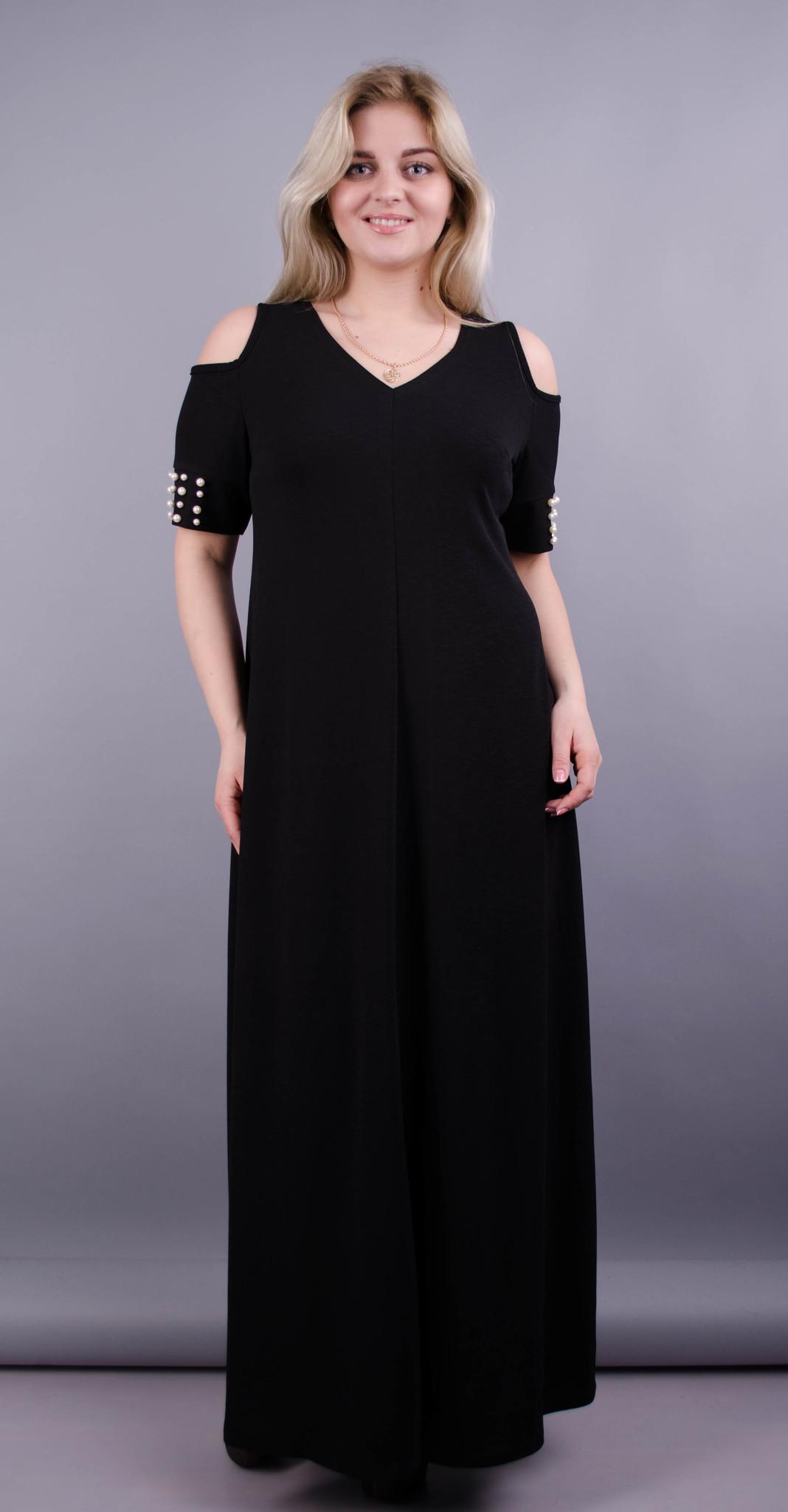 Дюшес. Вечірня сукня плюс сайз. Чорний.