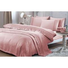 Набор КПБ с  покрывалом  + полотенце Lilya Gelin Home  розовый евро
