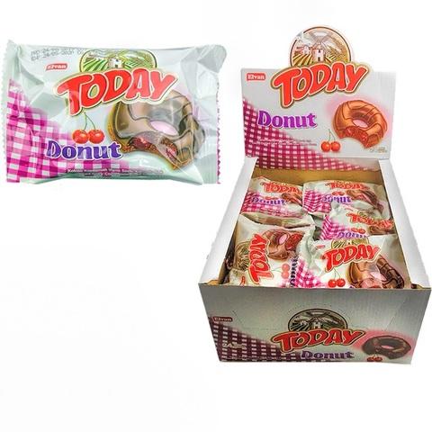 Today Donat Cake With Cherry 50GR (24х6) Данат кекс с какао в глазури с начинкой со вкусом вишни 1кор*6бл*24шт, 50гр