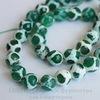 """Бусина Агат """"Мозаика"""", шарик с огранкой, цвет - зеленый с белым, 10 мм, нить"""