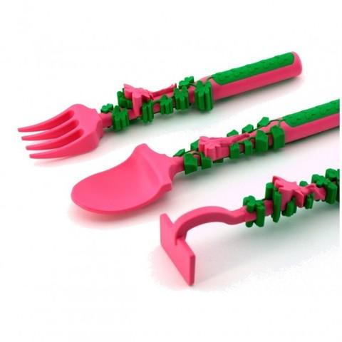 Набор из трех столовых приборов Constructive Eating - Серия Волшебный сад (фиолетовый/розовый)