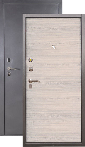 Дверь входная Сибирь S-1, 2 замка, 1,2 мм  металл, (серебро+лён светлый)