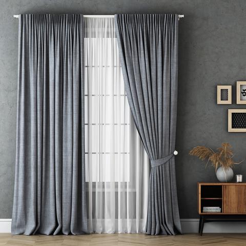 Комплект штор и тюль Бруни серый