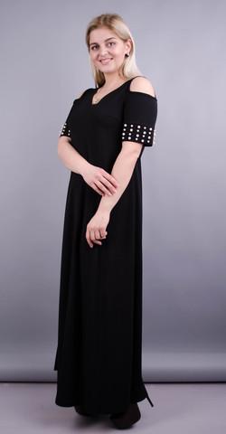 Дюшес. Вечернее платье плюс сайз. Черный.