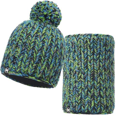 Комплект шапка шарф вязаный с флисом Buff Buff Skyler Green
