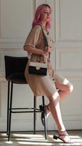 Кожаная сумка Tosca Blu Pollock Ivory, черный, Italy, фото 14
