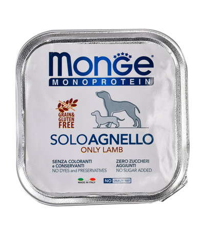 Monge Dog Monoprotein Solo консервы для собак паштет из ягненка 150г