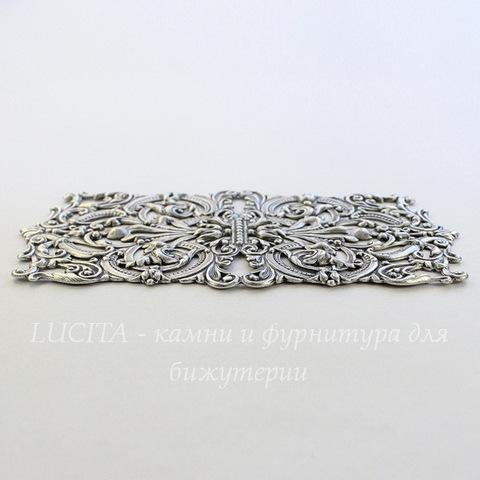 Винтажная основа для браслета (филигрань) 132х67 мм (оксид серебра)