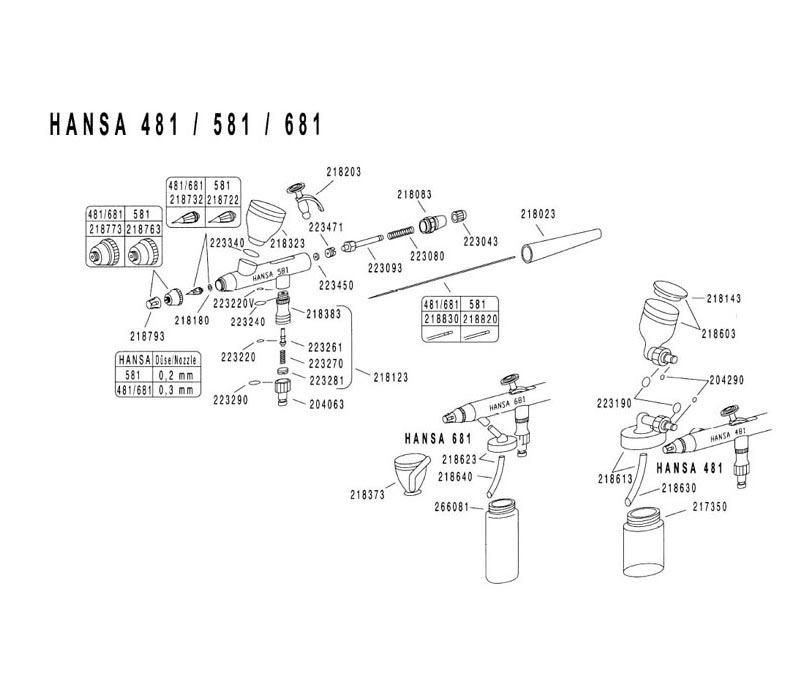 Аэрограф Hansa 481 Set