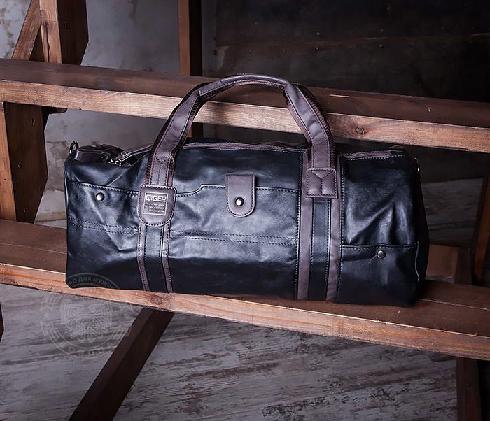 BAG408-1 Стильная мужская сумка из кожи с ремнем на плечо фото 02