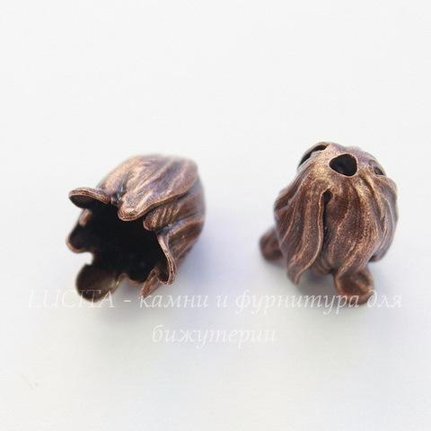 Винтажный декоративный элемент - шапочка в виде тюльпана 12х10 мм (оксид меди) (темные)