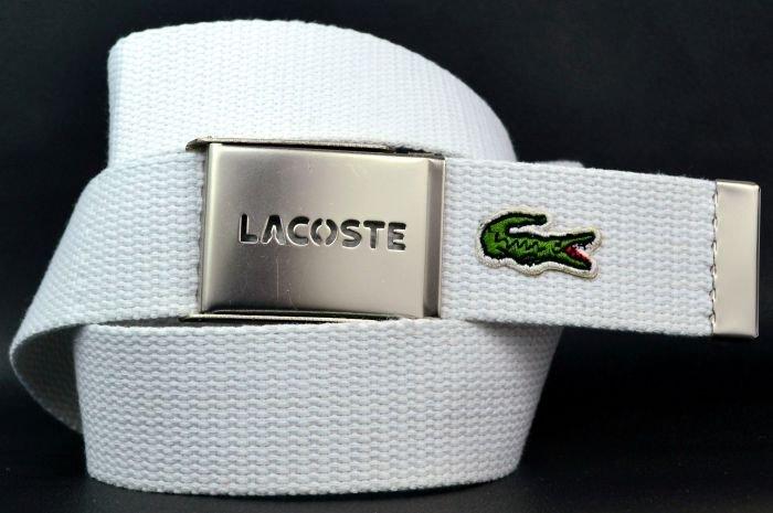 Ремень текстильный ярко-белый из стропы Lacoste (копия) 35Stropa-019