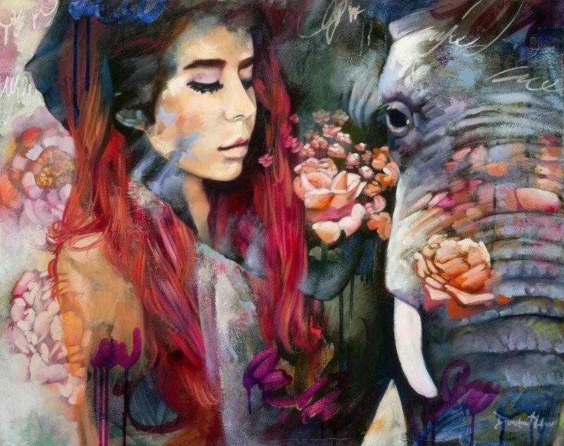 Картина раскраска по номерам 40x50 Девушка и слон– купить ...