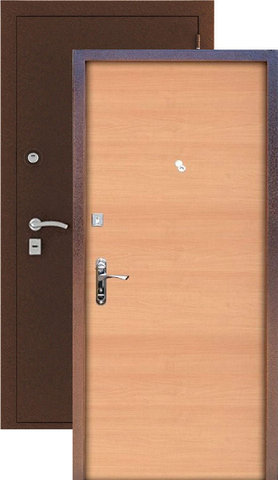 Стальная дверь Сибирь S-1, 2 замка, 1,2 мм  металл (медь+ольха)