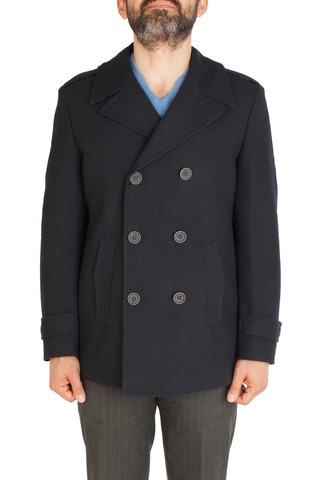 Двубортное тёмно-синее шерстяное пальто