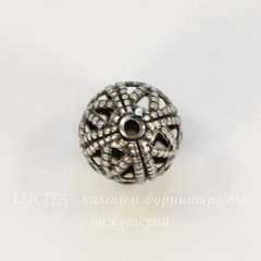 Винтажный элемент - бусина шарик филигрань 8 мм (оксид серебра)