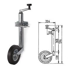 Кронштейн стояночный трейлерный 596 мм, колесо резиновое