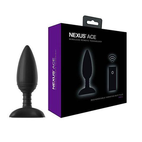 Чёрная вибровтулка NEXUS ACE SMALL с дистанционным управлением - 10 см.
