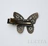 Основа для заколки 40х27 мм с филигранной бабочкой (цвет - античная бронза)