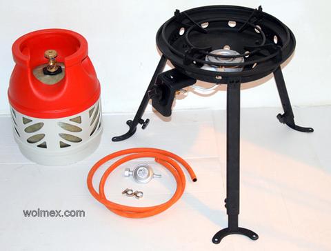 Комплект 34. Горелка газовая для вока Wolmex C4201D с композитным баллоном и редуктором EN61 - Shell