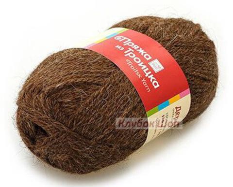 Пряжа Деревенька (Троицкая) темно-коричневый 3656 - фото