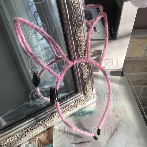 Ободок Заяц светящийся новогодний карнавальный на голову Розовый