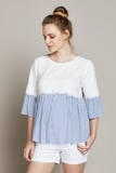 Блузка для беременных 10289 голубой