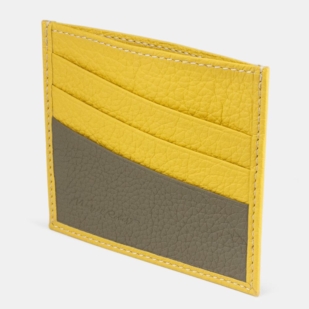 Картхолдер-визитница Carte Bicolor из натуральной кожи теленка, желтого цвета