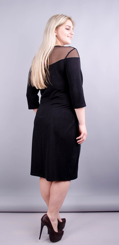 Ада. Романтичное платье плюс сайз. Черный.
