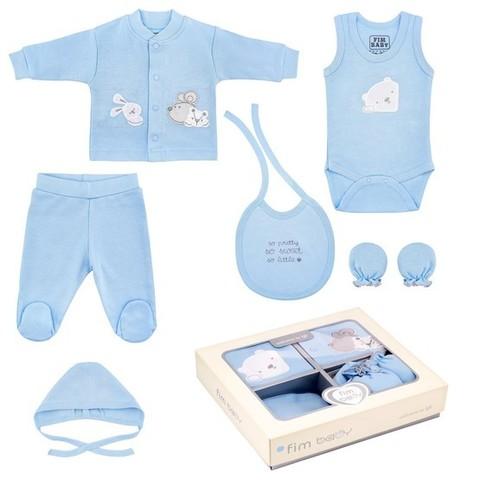 Набор одежды для детей FIMBABY 200077 от 0 до 6 мес. 7 предметов (р.68 синий цвет)