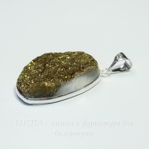 Подвеска Кварц в рамке (цвет - античное серебро) 34х22,6х9 мм №19 (б-13-18-09 №19а)