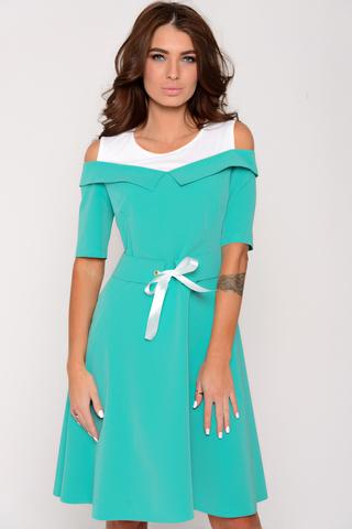 """Отличный весенний вариант! Платье приталенного силуэта, юбка """"клёш"""" до колен. Рукав до локтя.По талии пояс с люверсами и бантом из атласной ткани вшит в боковые швы.  Всю композицию дополняет верх из трикотажа. Супер модная деталь этого сезона! Сбоку замок. (Длины: 44-92см; 46-93см; 48-95см; 50-98см)"""