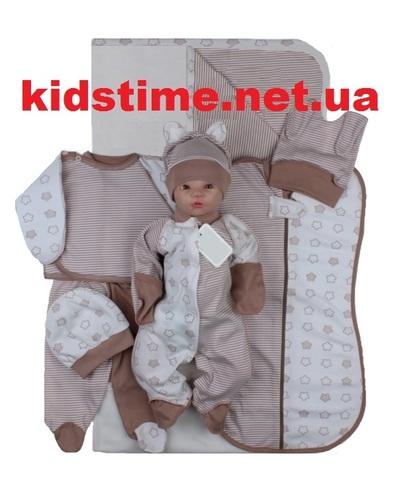 Набор одежды для новорожденного в роддом 8 предметов какао