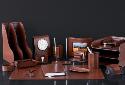 Настольный набор Lux Full Grain Toscana Dk.Таn, 21 предмет, натуральная кожа