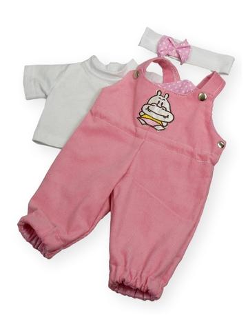 Полукомбинезон из вельвета - Розовый. Одежда для кукол, пупсов и мягких игрушек.