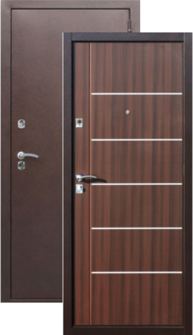 Дверь входная Сибирский Стандарт Молдинг Венге, 2 замка, 1,2 мм  металл, (медь антик+венге)