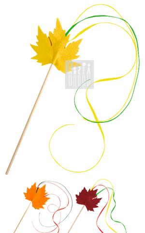Фото Гимнастическая палочка с лентами и кленовым листом рисунок Аксессуары для костюма, чтобы ваши праздники стали разнообразнее при меньших расходах на покупку нарядов!