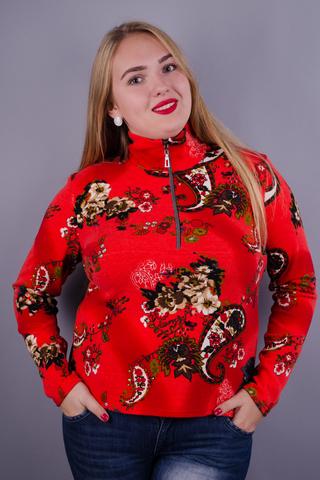 Мини. Женская кофта плюс сайз. Огурец красный.