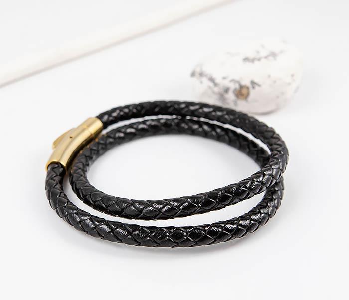 BM513-1G Двойной плетеный браслет из кожаного шнура фото 03
