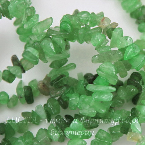 Бусина Авантюрин, крошка, цвет - зеленый, 4-7 мм, нить