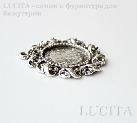 """Сеттинг - основа - подвеска """"Лента"""" для камеи или кабошона 14 мм (цвет - античное серебро) 28х26 мм"""
