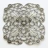 """Винтажный декоративный элемент - филигрань """"Цветок с 4 лепестками"""" 60х60 мм (оксид серебра)"""